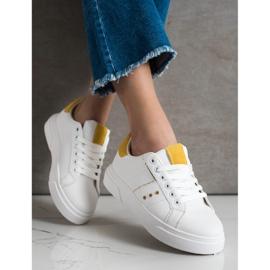 SHELOVET Sneakersy Z Eko Skóry białe 2