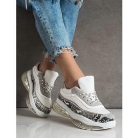 SHELOVET Sneakersy Na Przezroczystej Platformie białe wielokolorowe 2