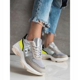 SHELOVET Komfortowe Modne Sneakersy srebrny wielokolorowe 3