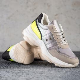 SHELOVET Komfortowe Modne Sneakersy srebrny wielokolorowe 1