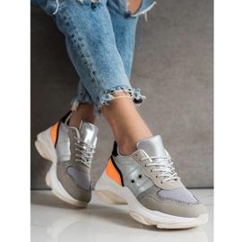 SHELOVET Komfortowe Modne Sneakersy srebrny wielokolorowe 2