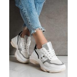 SHELOVET Komfortowe Modne Sneakersy białe wielokolorowe 2