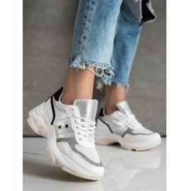 SHELOVET Komfortowe Modne Sneakersy białe wielokolorowe 3