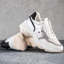 SHELOVET Komfortowe Modne Sneakersy białe wielokolorowe 1
