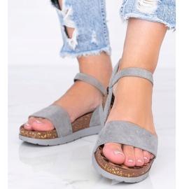 Szare sandały z wkładką w panterkę Preatty Pea 1