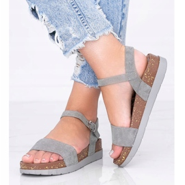 Szare sandały z wkładką w panterkę Preatty Pea 2