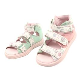 Sandałki wysokie profilaktyczne Mazurek 1291 białe różowe zielone 1