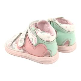 Sandałki wysokie profilaktyczne Mazurek 1291 białe różowe zielone 3