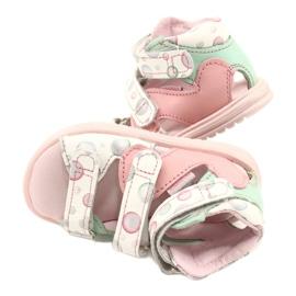 Sandałki wysokie profilaktyczne Mazurek 1291 białe różowe zielone 4