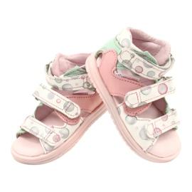 Sandałki wysokie profilaktyczne Mazurek 1291 białe różowe zielone 2