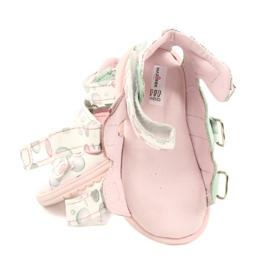 Sandałki wysokie profilaktyczne Mazurek 1291 białe różowe zielone 5