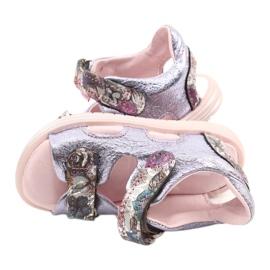 Sandałki Na Rzepy Mazurek 1314 Ametyst Perła fioletowe srebrny 3
