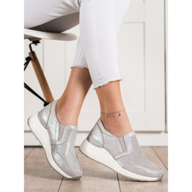 Goodin Skórzane Sneakersy Z Brokatem beżowy 3