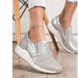 Goodin Skórzane Sneakersy Z Brokatem beżowy 2