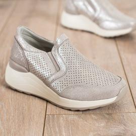 Goodin Skórzane Sneakersy Z Brokatem beżowy 1