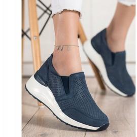 Goodin Skórzane Sneakersy Z Brokatem granatowe niebieskie 3