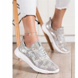Goodin Błyszczące Sneakersy Ze Skóry beżowy szare złoty 2