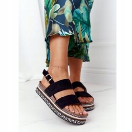 Zamszowe Sandały Na Platformie Czarne Olimpia wielokolorowe 2