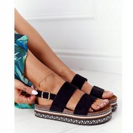 Zamszowe Sandały Na Platformie Czarne Olimpia wielokolorowe 5