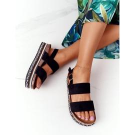 Zamszowe Sandały Na Platformie Czarne Olimpia wielokolorowe 1