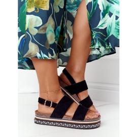 Zamszowe Sandały Na Platformie Czarne Olimpia wielokolorowe 3
