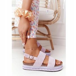 Zamszowe Sandały Na Platformie Fioletowe Olimpia 4