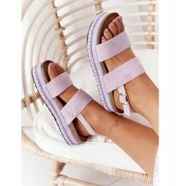 Zamszowe Sandały Na Platformie Fioletowe Olimpia 1