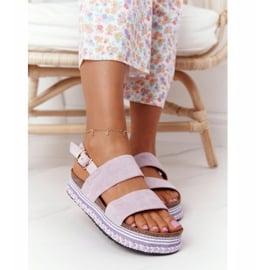 Zamszowe Sandały Na Platformie Fioletowe Olimpia 2