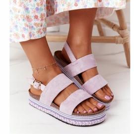 Zamszowe Sandały Na Platformie Fioletowe Olimpia 3