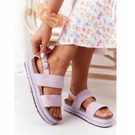 Zamszowe Sandały Na Platformie Fioletowe Olimpia 5