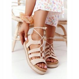 Wiązane Sandały Na Platformie Beżowe Santorini beżowy 2
