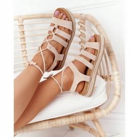 Wiązane Sandały Na Platformie Beżowe Santorini beżowy 1