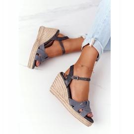 Skórzane Sandały Na Koturnie Big Star HH274378 Srebrne srebrny szare 1