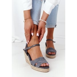Skórzane Sandały Na Koturnie Big Star HH274378 Srebrne srebrny szare 3