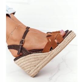 Skórzane Sandały Na Koturnie Big Star HH274377 Brązowe 4