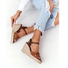 Skórzane Sandały Na Koturnie Big Star HH274377 Brązowe 3