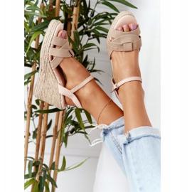 Skórzane Sandały Na Koturnie Big Star HH274380 Beżowe beżowy 4
