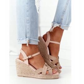 Skórzane Sandały Na Koturnie Big Star HH274380 Beżowe beżowy 1