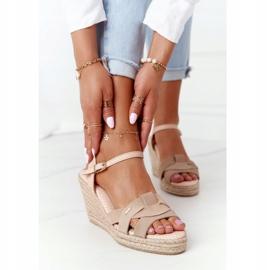 Skórzane Sandały Na Koturnie Big Star HH274380 Beżowe beżowy 2