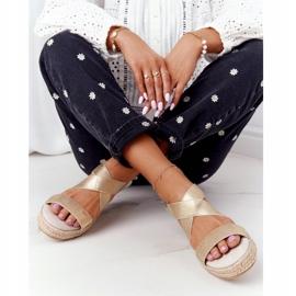 Sandały Na Koturnie Ze Ściągaczem Big Star HH274414 Złote złoty 7
