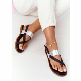 Skórzane Sandały Japonki Big Star HH274712 Czarno-Srebrne czarne srebrny 4