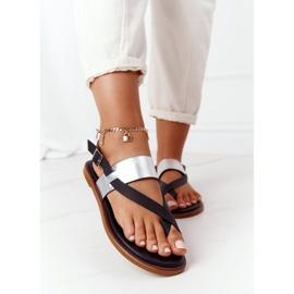 Skórzane Sandały Japonki Big Star HH274712 Czarno-Srebrne czarne srebrny 2