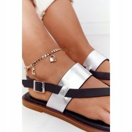 Skórzane Sandały Japonki Big Star HH274712 Czarno-Srebrne czarne srebrny 1