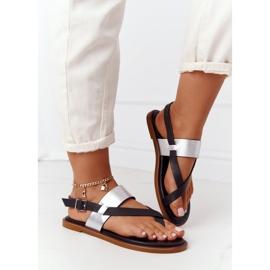 Skórzane Sandały Japonki Big Star HH274712 Czarno-Srebrne czarne srebrny 3