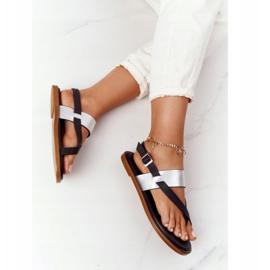 Skórzane Sandały Japonki Big Star HH274712 Czarno-Srebrne czarne srebrny 5