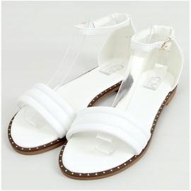 Sandałki zapinane na kostkę białe 55-93 White 1