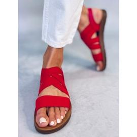 Sandałki z gumowymi paskami czerwone 9225 Red 3