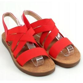 Sandałki z gumowymi paskami czerwone 9225 Red 1