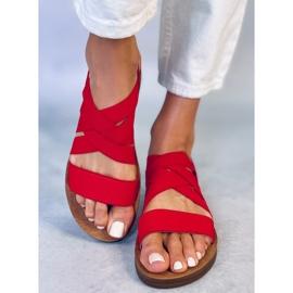 Sandałki z gumowymi paskami czerwone 9225 Red 2