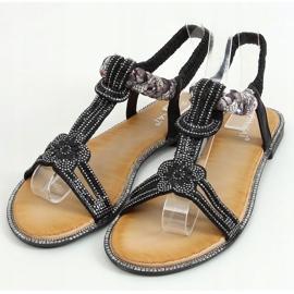 Sandałki z cyrkoniami czarne JN11-10 Black 1